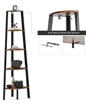 Ballucci Industrial Corner Shelf 5 Tier Bookcase Storage Rack Wood Plant Stand For Home Or Office Accent Furniture With Metal Frame Rustic Brown 0 3 300x360