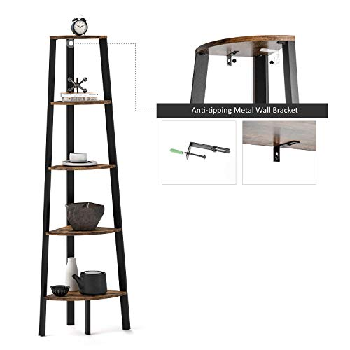 Ballucci Industrial Corner Shelf 5 Tier Bookcase Storage Rack Wood Plant Stand For Home Or Office Accent Furniture With Metal Frame Rustic Brown 0 3