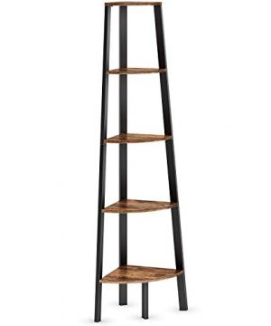 Ballucci Industrial Corner Shelf 5 Tier Bookcase Storage Rack Wood Plant Stand For Home Or Office Accent Furniture With Metal Frame Rustic Brown 0 300x360