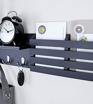 Ballucci Mail Holder And Coat Key Rack Wall Shelf With 3 Hooks 24 X 6 Black 0 0 300x333