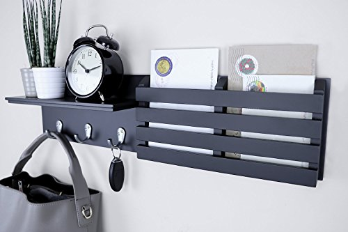 Ballucci Mail Holder And Coat Key Rack Wall Shelf With 3 Hooks 24 X 6 Black 0 0