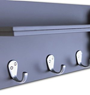 Ballucci Mail Holder And Coat Key Rack Wall Shelf With 3 Hooks 24 X 6 Black 0 3 300x317