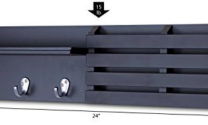 Ballucci Mail Holder And Coat Key Rack Wall Shelf With 3 Hooks 24 X 6 Black 0 5 300x180