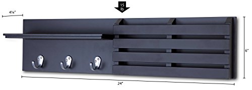 Ballucci Mail Holder And Coat Key Rack Wall Shelf With 3 Hooks 24 X 6 Black 0 5