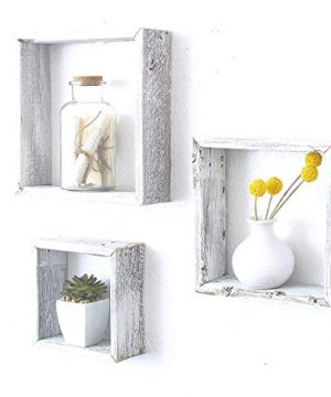 BarnwoodUSA Whitewash Rustic Shelves Square Floating Wood Shadowbox Home Decor Set Of 3 0 300x360
