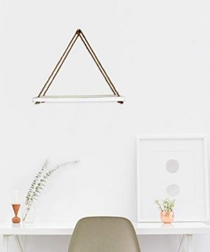 Barnyard Designs Wood Hanging Shelf Rustic Vintage Farmhouse Whitewash Hanging Rope Shelves 17 X 5 Set Of 2 0 0 300x360