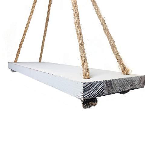 Barnyard Designs Wood Hanging Shelf Rustic Vintage Farmhouse Whitewash Hanging Rope Shelves 17 X 5 Set Of 2 0 2