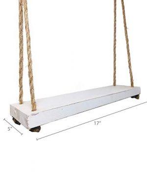 Barnyard Designs Wood Hanging Shelf Rustic Vintage Farmhouse Whitewash Hanging Rope Shelves 17 X 5 Set Of 2 0 3 300x360