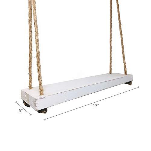 Barnyard Designs Wood Hanging Shelf Rustic Vintage Farmhouse Whitewash Hanging Rope Shelves 17 X 5 Set Of 2 0 3