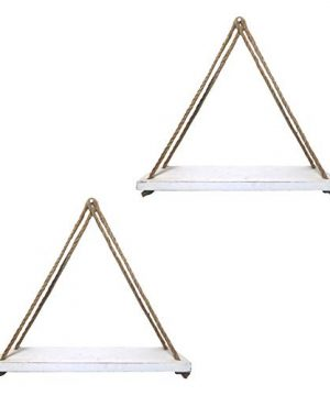 Barnyard Designs Wood Hanging Shelf Rustic Vintage Farmhouse Whitewash Hanging Rope Shelves 17 X 5 Set Of 2 0 300x360