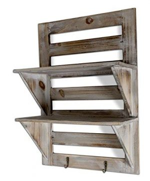 Besti Rustic Wood Wall Shelves With Hanging Hooks Eye Catching Wall Shelf For Kitchen Bathroom Office Bedroom Living Room Unique Vintage Farmhouse Country Home Decor 0 3 300x360