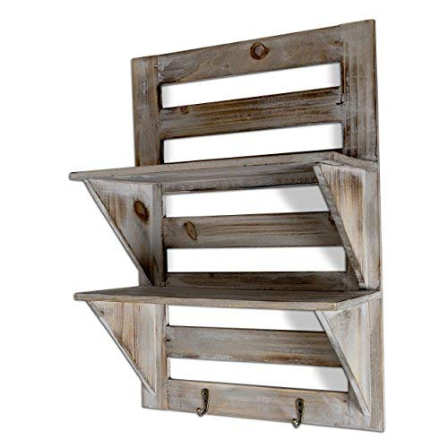 Besti Rustic Wood Wall Shelves With Hanging Hooks Eye Catching Wall Shelf For Kitchen Bathroom Office Bedroom Living Room Unique Vintage Farmhouse Country Home Decor 0 3