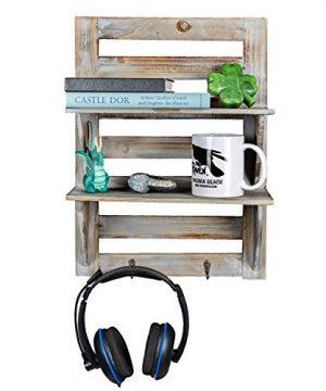 Besti Rustic Wood Wall Shelves With Hanging Hooks Eye Catching Wall Shelf For Kitchen Bathroom Office Bedroom Living Room Unique Vintage Farmhouse Country Home Decor 0 300x360