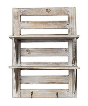 Besti Rustic Wood Wall Shelves With Hanging Hooks Eye Catching Wall Shelf For Kitchen Bathroom Office Bedroom Living Room Unique Vintage Farmhouse Country Home Decor 0 4 300x360