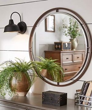Bronze Finish Floating Round Wall Mirror Farmhouse Mid Century Modern Contemporary 0 300x360