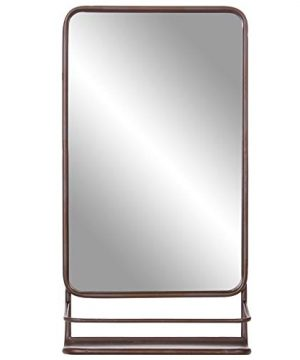 Bronze Metal Wall Accent Mirror With Shelf 0 300x360