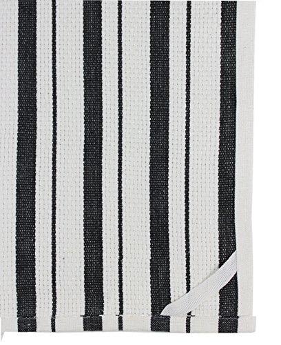 COTTON CRAFT 4 Pack Basket Weave Kitchen Towels Black 100 Cotton Oversized 20x30 Modern Clean Striped Pattern Convenient Hanging Loop 0 1