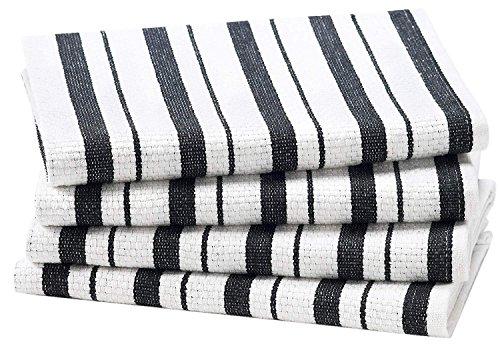 COTTON CRAFT 4 Pack Basket Weave Kitchen Towels Black 100 Cotton Oversized 20x30 Modern Clean Striped Pattern Convenient Hanging Loop 0