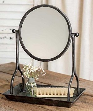 CTW Country Rustic Theme Home Decor Bathroom Vanity Tray With Round Mirror 0 300x360