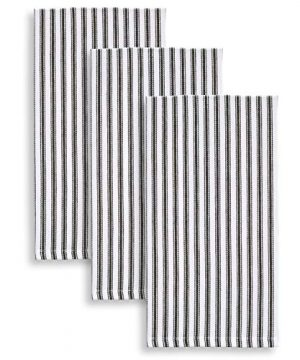 Cackleberry Home Black And White Ticking Stripe Kitchen Towels 18 X 28 Inches 100 Cotton Woven Set Of 3 0 300x360