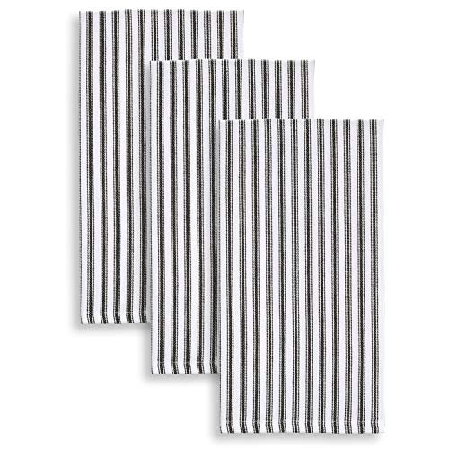 Cackleberry Home Black And White Ticking Stripe Kitchen Towels 18 X 28 Inches 100 Cotton Woven Set Of 3 0