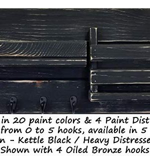 Classic Farmhouse Rustic Mail Organize Featuring Customizable Number Of Key Hooks Shelf Mail Slot Available In 20 Colors Shown In Kettle Black Mail Holder With Single Wall Hooks Mail Bin 0 0 300x314