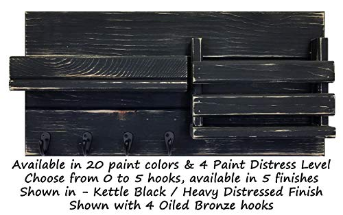 Classic Farmhouse Rustic Mail Organize Featuring Customizable Number Of Key Hooks Shelf Mail Slot Available In 20 Colors Shown In Kettle Black Mail Holder With Single Wall Hooks Mail Bin 0 0