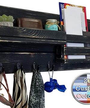 Classic Farmhouse Rustic Mail Organize Featuring Customizable Number Of Key Hooks Shelf Mail Slot Available In 20 Colors Shown In Kettle Black Mail Holder With Single Wall Hooks Mail Bin 0 300x360