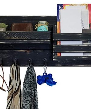 Classic Farmhouse Rustic Mail Organize Featuring Customizable Number Of Key Hooks Shelf Mail Slot Available In 20 Colors Shown In Kettle Black Mail Holder With Single Wall Hooks Mail Bin 0 7 300x360