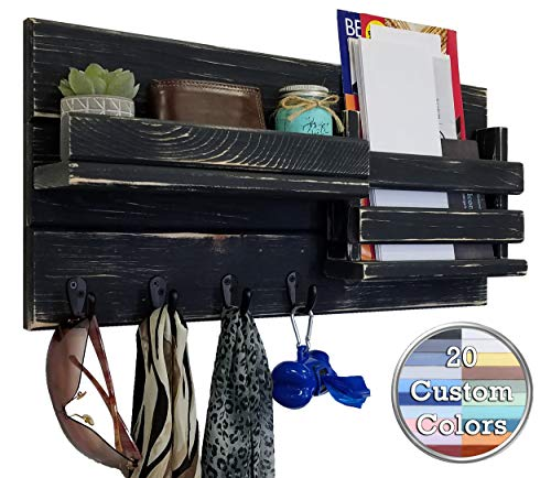 Classic Farmhouse Rustic Mail Organize Featuring Customizable Number Of Key Hooks Shelf Mail Slot Available In 20 Colors Shown In Kettle Black Mail Holder With Single Wall Hooks Mail Bin 0