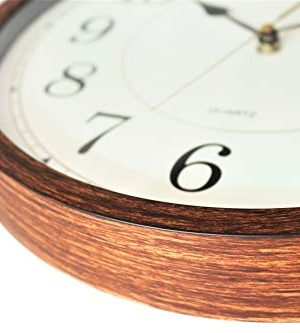 Classic Oak Rustic Farmhouse Wall Clock Wood Simulated Vintage Bronze Complete Quite Non Ticking Silent Sweep Quartz Movement Antique Style 126 Inch Diameter Plastic Frame ABS Glass Front 0 2 300x333