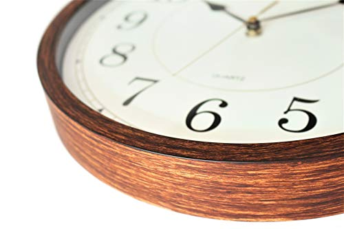 Classic Oak Rustic Farmhouse Wall Clock Wood Simulated Vintage Bronze Complete Quite Non Ticking Silent Sweep Quartz Movement Antique Style 126 Inch Diameter Plastic Frame ABS Glass Front 0 2