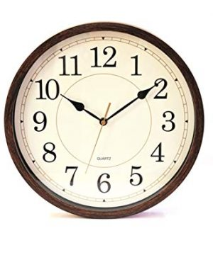 Classic Oak Rustic Farmhouse Wall Clock Wood Simulated Vintage Bronze Complete Quite Non Ticking Silent Sweep Quartz Movement Antique Style 126 Inch Diameter Plastic Frame ABS Glass Front 0 300x360