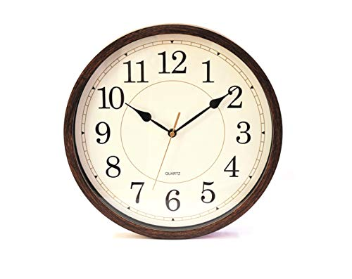 Classic Oak Rustic Farmhouse Wall Clock Wood Simulated Vintage Bronze Complete Quite Non Ticking Silent Sweep Quartz Movement Antique Style 126 Inch Diameter Plastic Frame ABS Glass Front 0