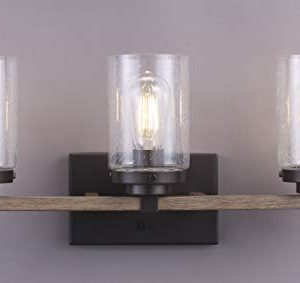 Cloudy Bay 3 Light Distressed Wooden Bathroom Vanity Light3pcs ST19 LED Flimament Bulbs Included For Farmhouse Lighting 0 0 300x283