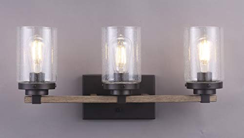 Cloudy Bay 3 Light Distressed Wooden Bathroom Vanity Light3pcs ST19 LED Flimament Bulbs Included For Farmhouse Lighting 0 0