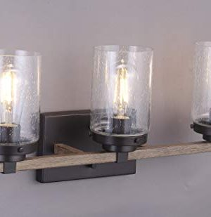 Cloudy Bay 3 Light Distressed Wooden Bathroom Vanity Light3pcs ST19 LED Flimament Bulbs Included For Farmhouse Lighting 0 1 300x309