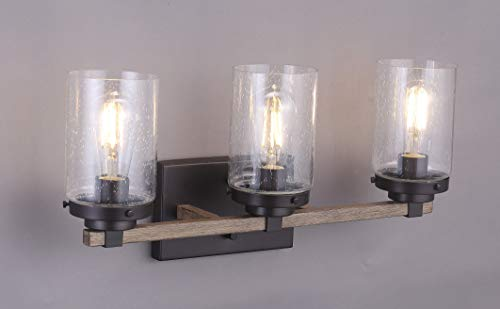 Cloudy Bay 3 Light Distressed Wooden Bathroom Vanity Light3pcs ST19 LED Flimament Bulbs Included For Farmhouse Lighting 0 1