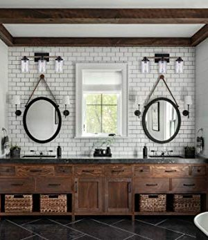 Cloudy Bay 3 Light Distressed Wooden Bathroom Vanity Light3pcs ST19 LED Flimament Bulbs Included For Farmhouse Lighting 0 3 300x347