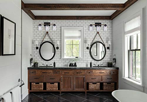 Cloudy Bay 3 Light Distressed Wooden Bathroom Vanity Light3pcs ST19 LED Flimament Bulbs Included For Farmhouse Lighting 0 3