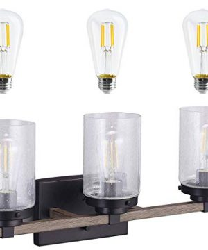 Cloudy Bay 3 Light Distressed Wooden Bathroom Vanity Light3pcs ST19 LED Flimament Bulbs Included For Farmhouse Lighting 0 300x360