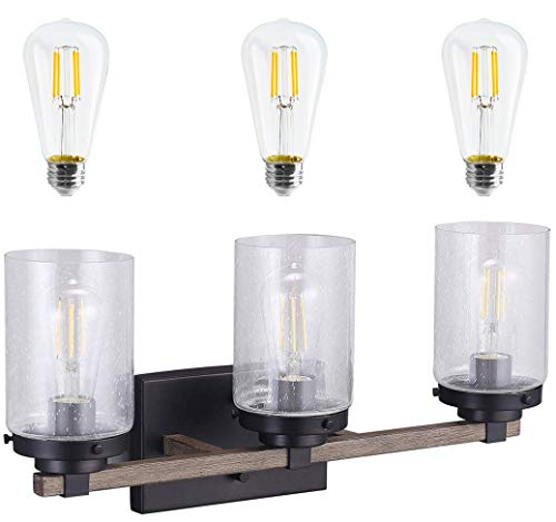 Cloudy Bay 3 Light Distressed Wooden Bathroom Vanity Light3pcs ST19 LED Flimament Bulbs Included For Farmhouse Lighting 0