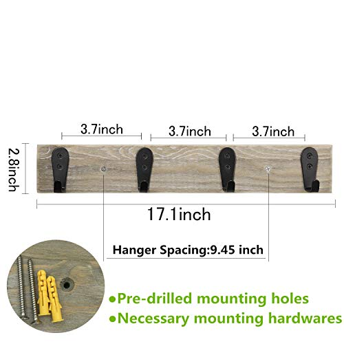 Coat Rack Wall MountedFlyisland Wooden Entryway Vintage Rustic Coat Rack Heavy Duty Metal Hooks Hat Hanger RackRail For The Entryway Bathroom Bedroom Kitchen Mudroom Barnwood 4 L Hooks 0 0