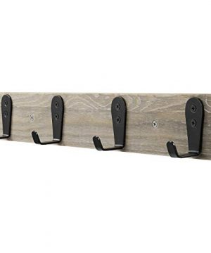Coat Rack Wall MountedFlyisland Wooden Entryway Vintage Rustic Coat Rack Heavy Duty Metal Hooks Hat Hanger RackRail For The Entryway Bathroom Bedroom Kitchen Mudroom Barnwood 4 L Hooks 0 300x360