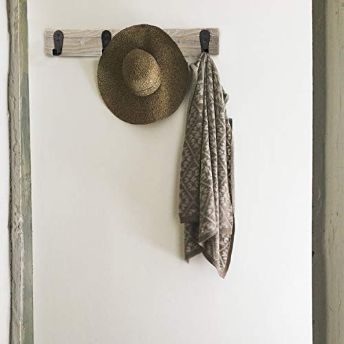 Coat Rack Wall MountedFlyisland Wooden Entryway Vintage Rustic Coat Rack Heavy Duty Metal Hooks Hat Hanger RackRail For The Entryway Bathroom Bedroom Kitchen Mudroom Barnwood 4 L Hooks 0 4