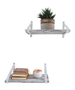 Comfify Decorative Floating Shelves Set Of 2 Rustic Wall Storage Made Of Sturdy Paulownia Wood WCoated Steel Brackets Wooden Shelves For Bathroom Living Room Kitchen More Rustic White 0 0 300x360