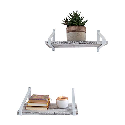 Comfify Decorative Floating Shelves Set Of 2 Rustic Wall Storage Made Of Sturdy Paulownia Wood WCoated Steel Brackets Wooden Shelves For Bathroom Living Room Kitchen More Rustic White 0 0
