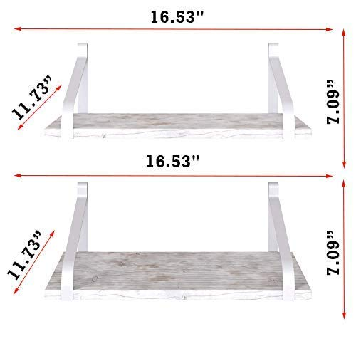 Comfify Decorative Floating Shelves Set Of 2 Rustic Wall Storage Made Of Sturdy Paulownia Wood WCoated Steel Brackets Wooden Shelves For Bathroom Living Room Kitchen More Rustic White 0 1