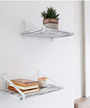 Comfify Decorative Floating Shelves Set Of 2 Rustic Wall Storage Made Of Sturdy Paulownia Wood WCoated Steel Brackets Wooden Shelves For Bathroom Living Room Kitchen More Rustic White 0 2 300x360