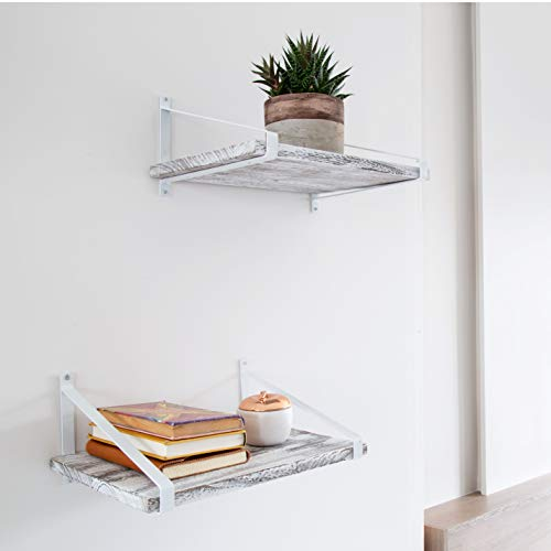 Comfify Decorative Floating Shelves Set Of 2 Rustic Wall Storage Made Of Sturdy Paulownia Wood WCoated Steel Brackets Wooden Shelves For Bathroom Living Room Kitchen More Rustic White 0 2